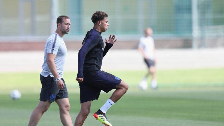 Dele Alli returned to Saturday's training after suffering a thigh injury against Tunisia