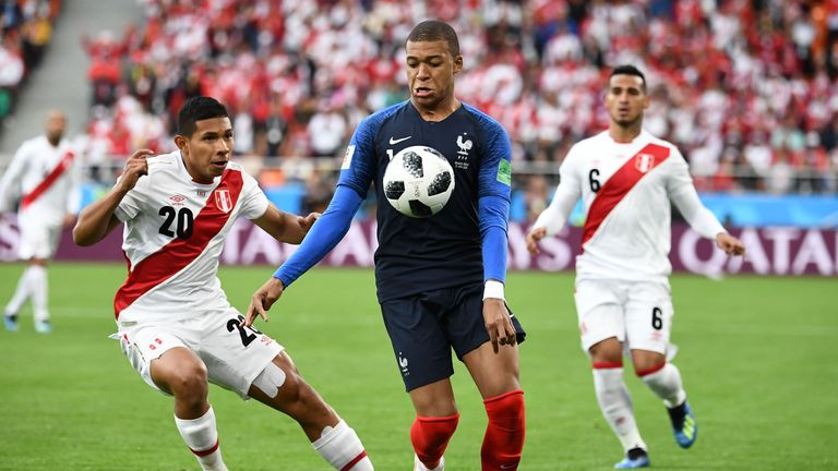 Kylian Mbappe in action against Peru during the group stage