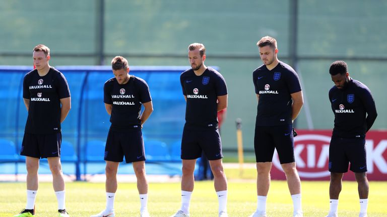 England players observed a minute's silence prior to training on Thursday