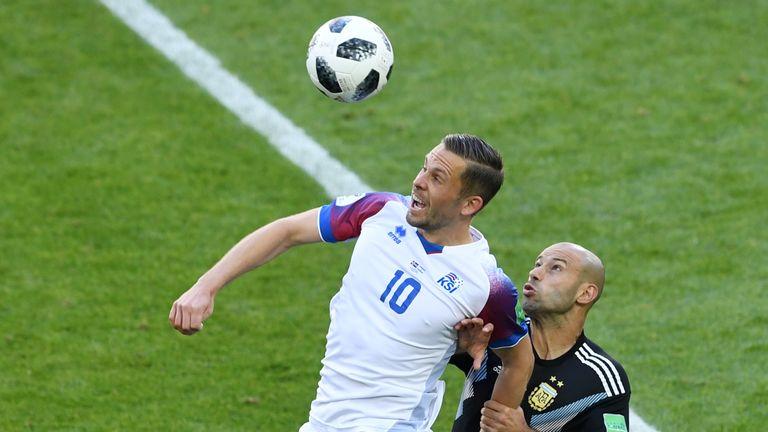 Gylfi Sigurdsson in action in Iceland's opener against Argentina
