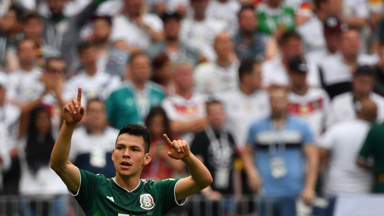 Hirving Lozano celebrates after giving Mexico the lead in their opening group game