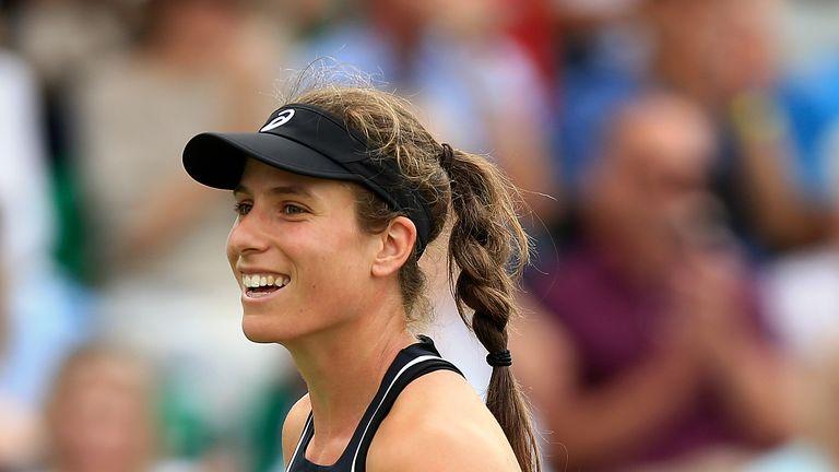 Johanna Konta beat Heather Watson in straight sets in Nottingham