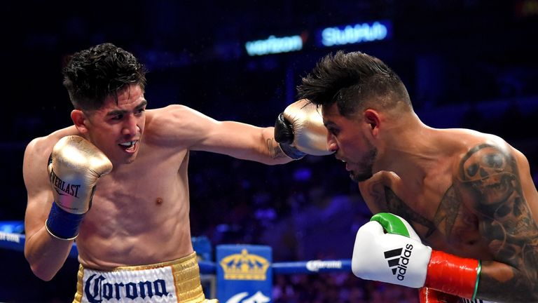 Leo Santa Cruz (left) defeated Abner Mares at the Staples Center in Los Angeles