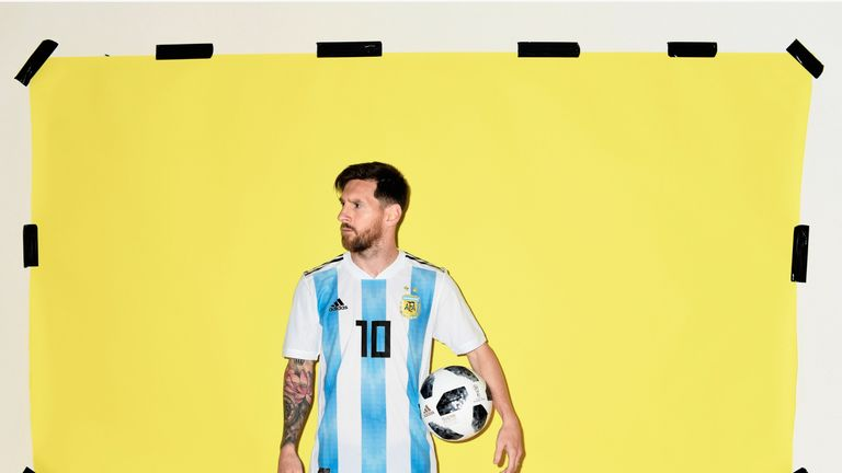 Lionel Messi of Argentina poses during the official FIFA World Cup 2018 portrait session
