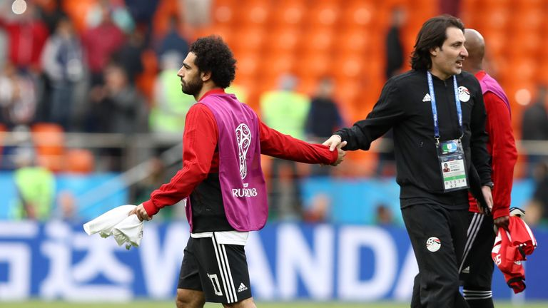 Mohamed Salah had to sit out Egypt's opening loss to Uruguay