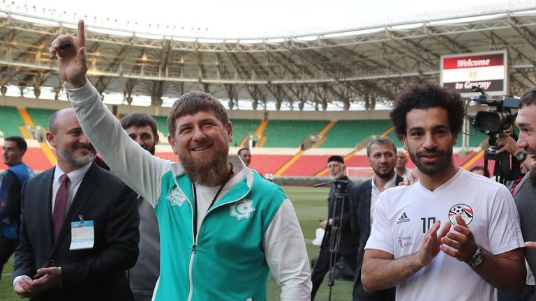 Kadyrov took the opportunity to have a photo call with Salah at Grozny's Akhmat Arena stadium on Sunday