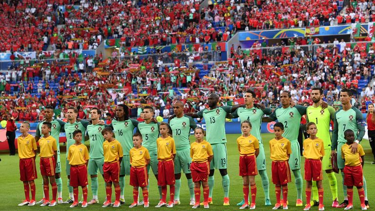 Portugal stand to attention for the national anthem, A Portuguesa, ahead of their Euro 2016 semi-final against Wales.
