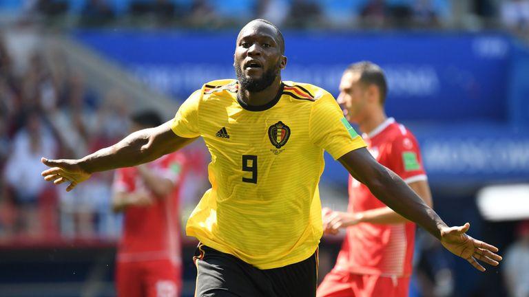 Romelu Lukaku wheels away in celebration after scoring