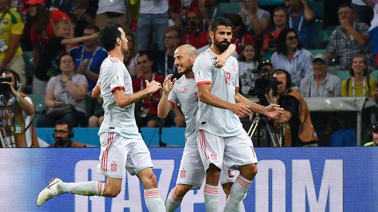 Diego Costa (R) scored twice against Portugal