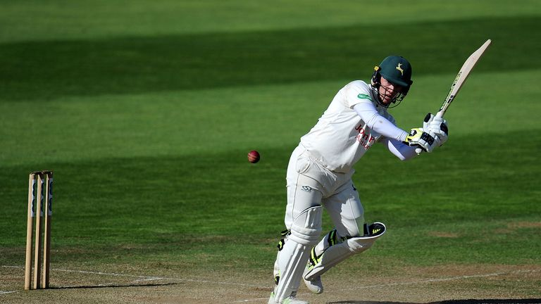 Tom Moores cracked a quickfire century for Nottinghamshire as they built a lead over Somerset