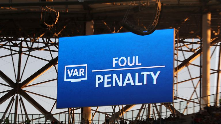 VAR during the 2018 FIFA World Cup Russia group D match between Nigeria and Iceland at Volgograd Arena on June 22, 2018 in Volgograd, Russia.