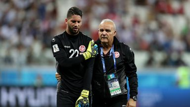 Mouez Hassen had to be substituted during Tunisia's defeat to England