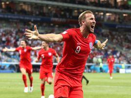 Harry Kane celebrates scoring England's winning goal against Tunisia in Volgograd