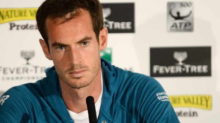 Andy Murray of Great Britain press conference during qualifying day 1 of the Fever-Tree Championships at Queens Club