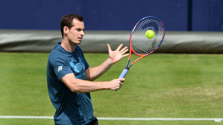 Andy Murray in practice ahead of his return from injury at Queen's