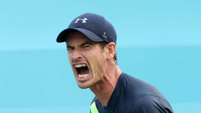 Andy Murray of Great Britain celebrates winning a point during his match against Nick Kyrgios of Australia on Day Two of the Fever-Tree Championships at Queens Club on June 19, 2018 in London, United Kingdom.