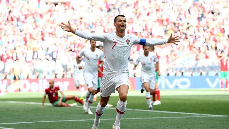 Cristiano Ronaldo celebrates after scoring his team's first goal