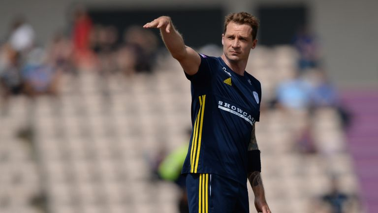 SOUTHAMPTON, ENGLAND - JUNE 18 : Dale Steyn of Hampshire gestures during the Royal London One-Day Cup Semi-Final match between Hampshire and Yorkshire Vikings at the Ageas Bowl on June 18, 2018 in Southampton, England. (Photo by Philip Brown/Getty Images) *** Local Caption *** Dale Steyn