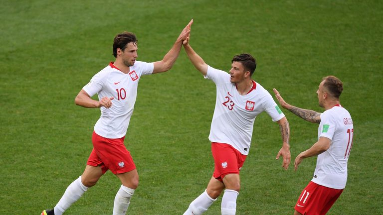 Grzegorz Krychowiak celebrates with teammates after reducing the deficit