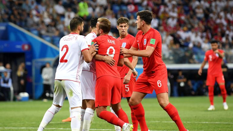 Harry Kane received rough treatment from Tunisia's players throughout the match