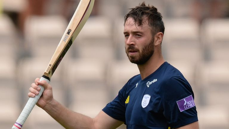 James Vince of Hampshire leaves the field after being dismissed during the Royal London One-Day Cup Semi-Final match between Hampshire and Yorkshire Vikings at the Ageas Bowl on June 18, 2018 in Southampton, England.