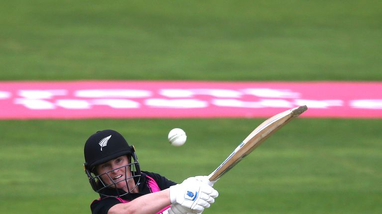 Katey Martin of New Zealand scores runs during the International T20 Tri-Series match between New Zealand Women and South Africa Women at The Cooper Associates County Ground on June 20, 2018 in Taunton, England. (Photo by Julian Herbert/Getty Images)