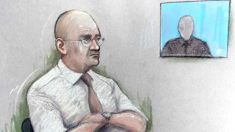 A court sketch of former football coach Bob Higgins