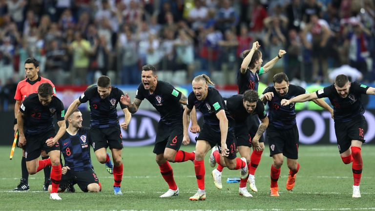 Croatia players celebrate after beating Denmark on penalties