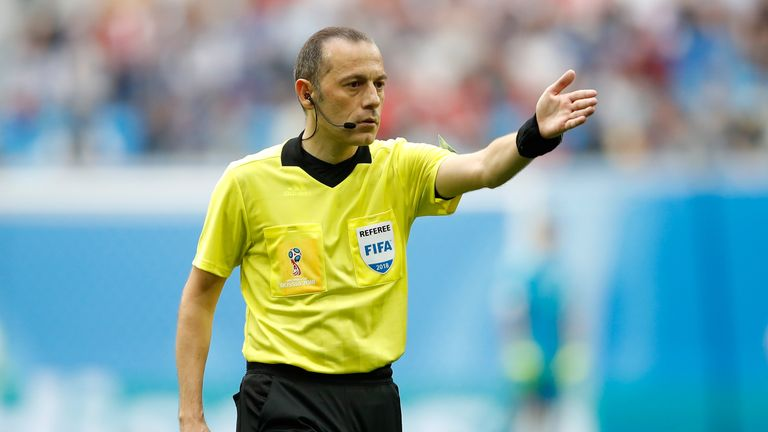 Turkish referee Cuneyt Cakir will take charge of England's World Cup semi-final against Croatia on Wednesday