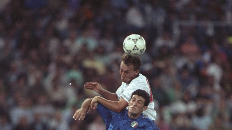 David Platt scored England's goal against Italy in the game in Bari
