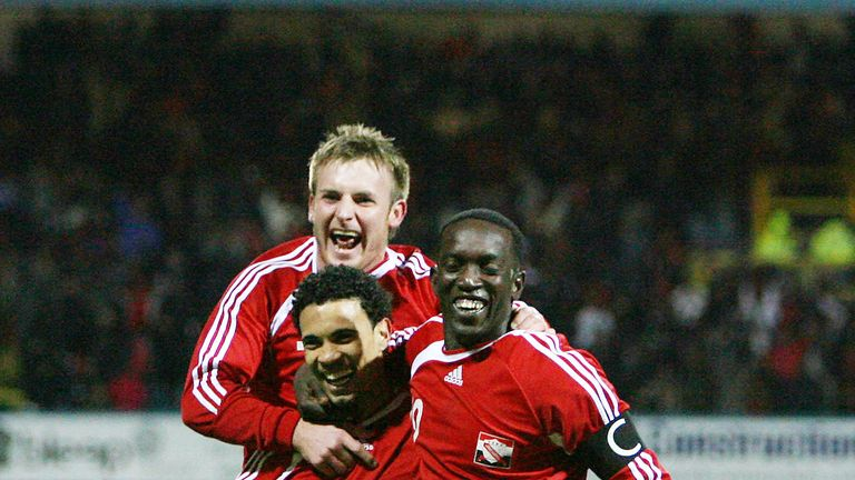 Dwight Yorke (right) captained the Trinidad & Tobago side Edwards played in