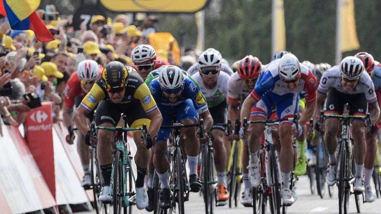 Dylan Groeneweber powers past his rivals on the final sprint into Chartres
