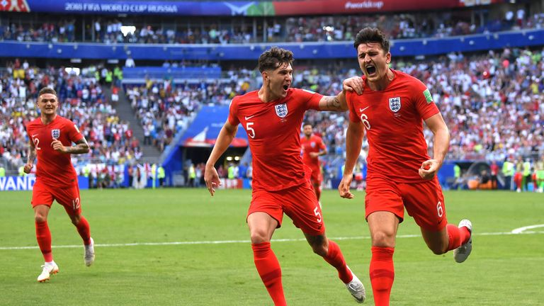 Harry Maguire headed home England's opener against Sweden