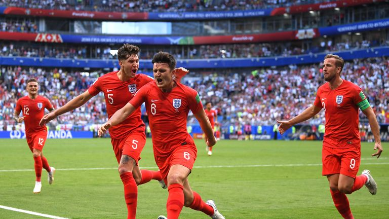 Harry Maguire celebrates his headed goal on the half-hour mark in Samara