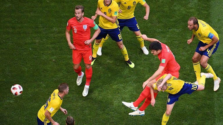 Harry Maguire's scores from a corner for England during their World Cup quarter-final win over Sweden