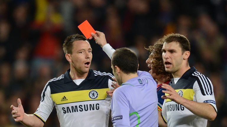John Terry was sent of by Cakir in the Champions League