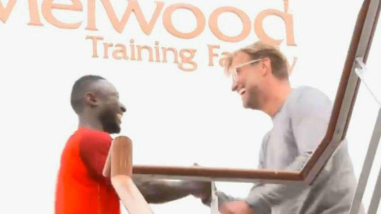 Jurgen Klopp welcomes Naby Keita to Liverpool's training ground at Melwood