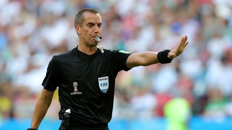 Mark Geiger will take charge of England's clash with Colombia on Tuesday