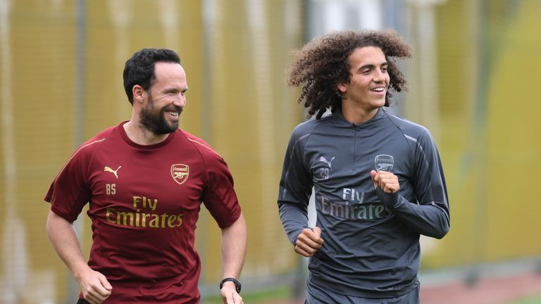 Arsenal's latest new signing Matteo Guendouzi trained with his team-mates on Wednesday