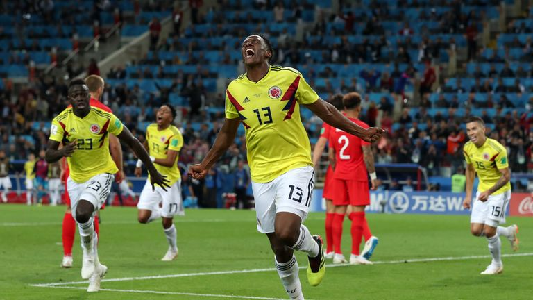 Yerry Mina shows his delight at having hauled Colombia level in stoppage time