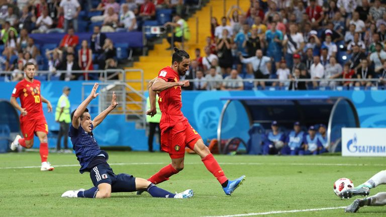 Chadli slides in to score the winner as Belgium beat Japan 3-2 on Monday