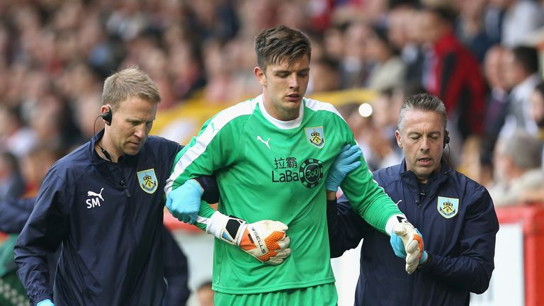 Burnley goalkeeper Nick Pope went off with an injury