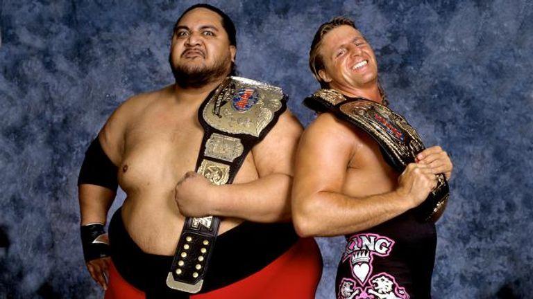Owen Hart and Yokozuna teamed up to win the tag-team titles at WrestleMania XI