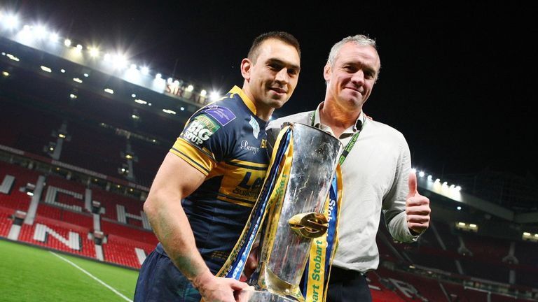 New Leeds boss Kevin Sinfield (left) has paid tribute to his predecessor Brian McDermott (right)