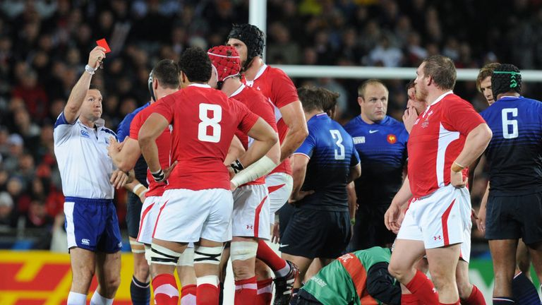 Referee Alain Rolland shows Warburton a red card 18 minutes into Wales' 2011 World Cup semi-final