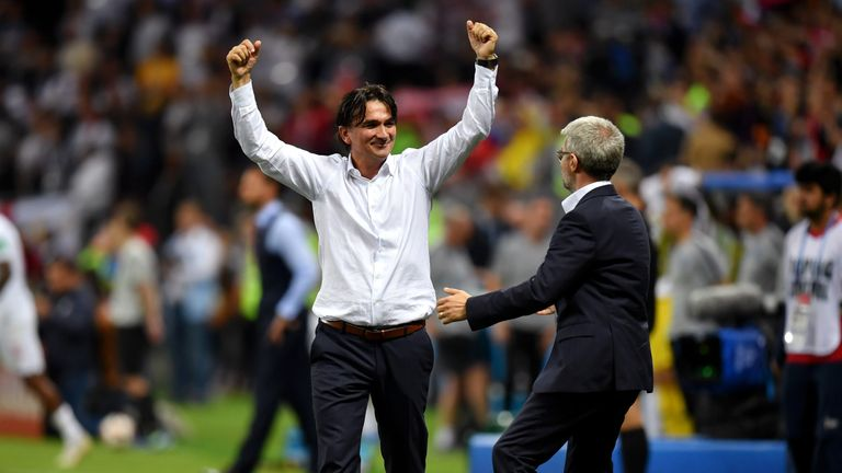 Zlatko Dalic celebrates at full-time after Croatia beat England in the World Cup semi-finals