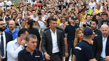 Cristiano Ronaldo arrives in Turin ahead of completing his move to Juventus