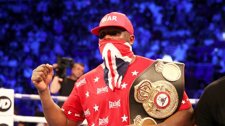 Dereck Chisora celebrates his victory over Carlos Takam at The O2