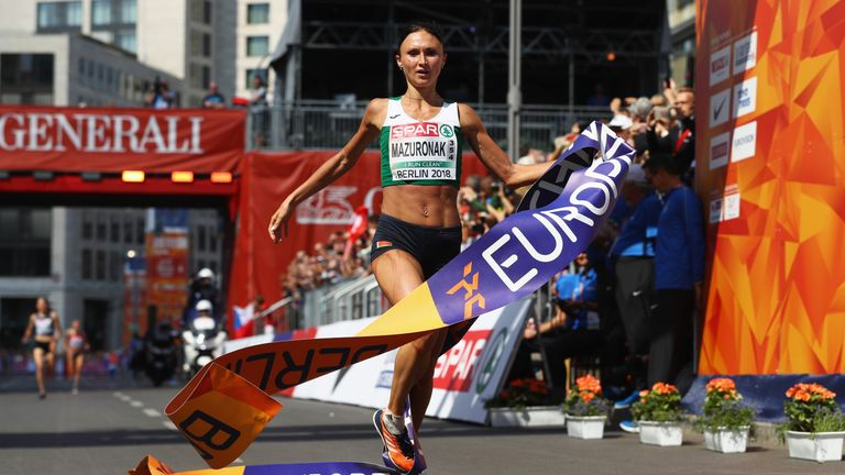 Volha Mazuronak won the women's marathon at the European Championship in Berlin