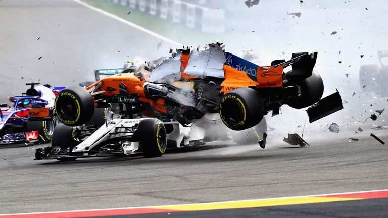 Alonso involved in scary Turn 1 crash at Belgian Grand Prix